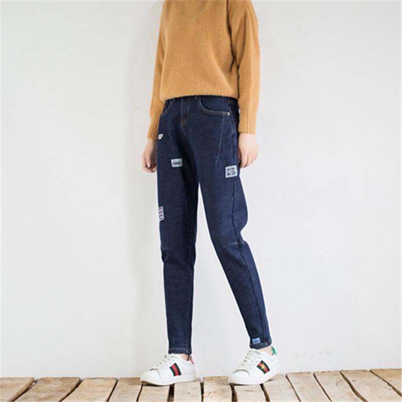 Couture Lavé Femmes Marque Patchwork Polaire bleu Haute Crayon Noir Taille Plus 2018 Femelle De Velours Élastique Vintage Pantalon Jeans vE4BwBdq