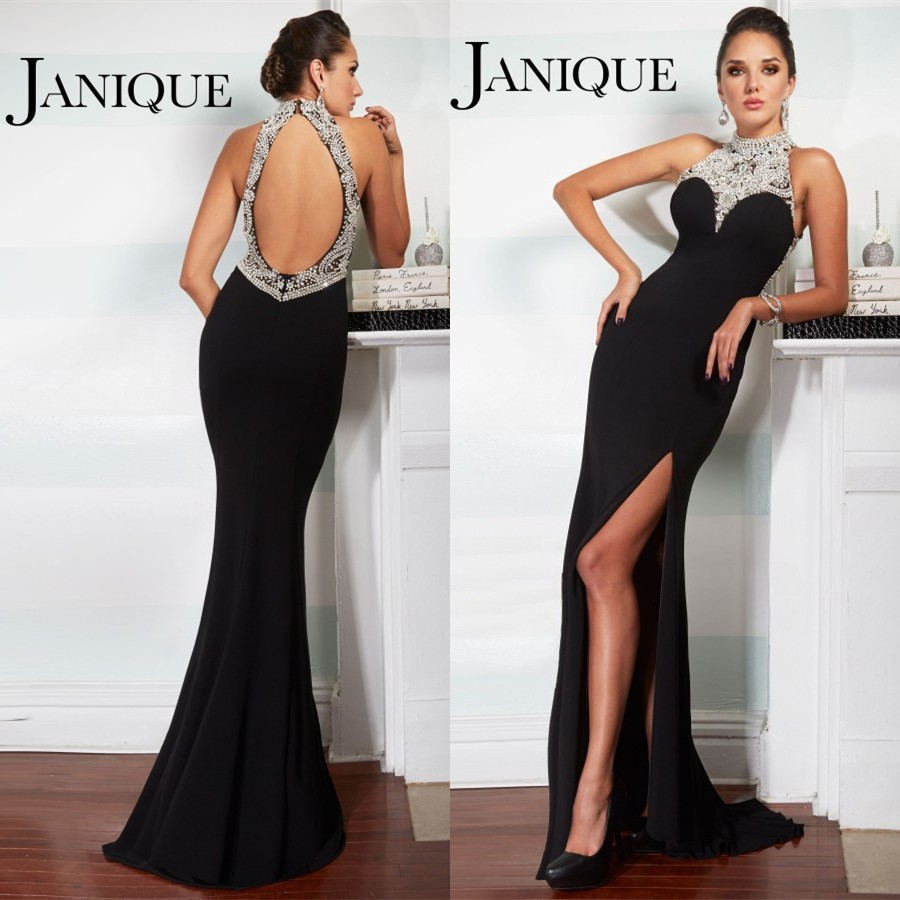 2018 formal Long Trumpet Side Slit High Neck Long Chiffon Sweep Train vestidos longos evening gown mother of the bride dresses