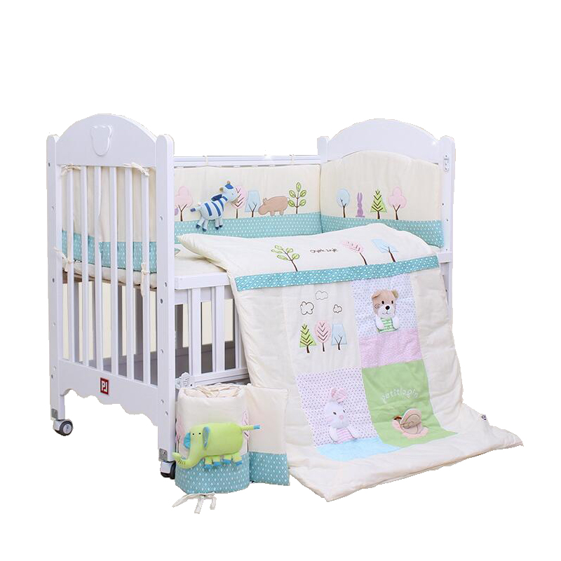 7pcs Cotton Baby Bedding Set 3D Cartoon Embroidery Crib Bedding Girls and Boys