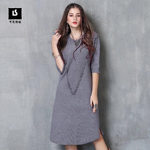 Women Sweater Dress New AutumnDresses Women Half Sleeve Tassel Vintage Cashmere Pullovers O-Neck Female Knitwear P9029