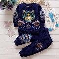 Мальчик комплект одежды 2016 новая весна новорожденного мальчика костюмы 2 шт. животных отпечатано с длинным рукавом пуловер + брюки