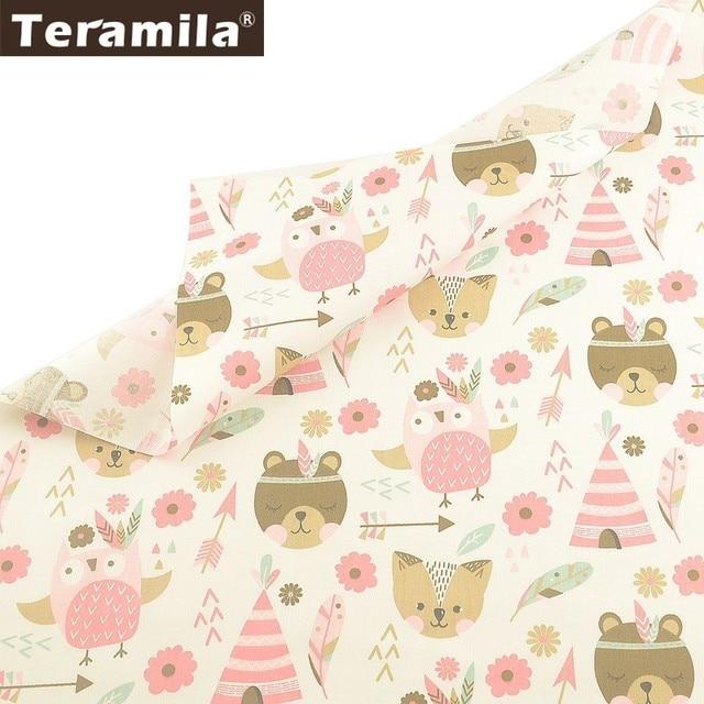 Teramila 100% Cotton Fabric Meter Cartoon Design Telas Por Metro DIY Patchwork Quilts Dress Home Tissu  Bedsheet For Baby Kids