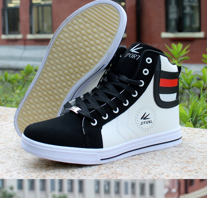 HTB1XNI0XcrrK1RjSspaq6AREXXaK - HUANQIU Brand Men Shoes 2018 Spring Fashion Boots Shoes Man High Top Shoes Men Lace Up Casual Shoe Chaussure Plus size 45 ZLL434