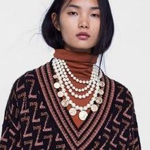 Best lady ZA Fashion Simulated Pearl Strand Statement Necklace For Women Bohemian Girl Gifts Round Pendant Choker Jewelry Hot