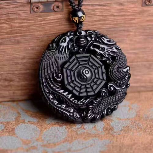 Koraba Fine Jewelry Lucky Blessing Beads Pendant Necklace Natural Black Obsidian Hand Carved Gossip Free Shipping