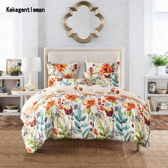 Kids Flower Duvet Cover Set, Girls Floral Leaf White Bedding Set with Soft Lightweight Microfiber Duvet cover and Pillow case