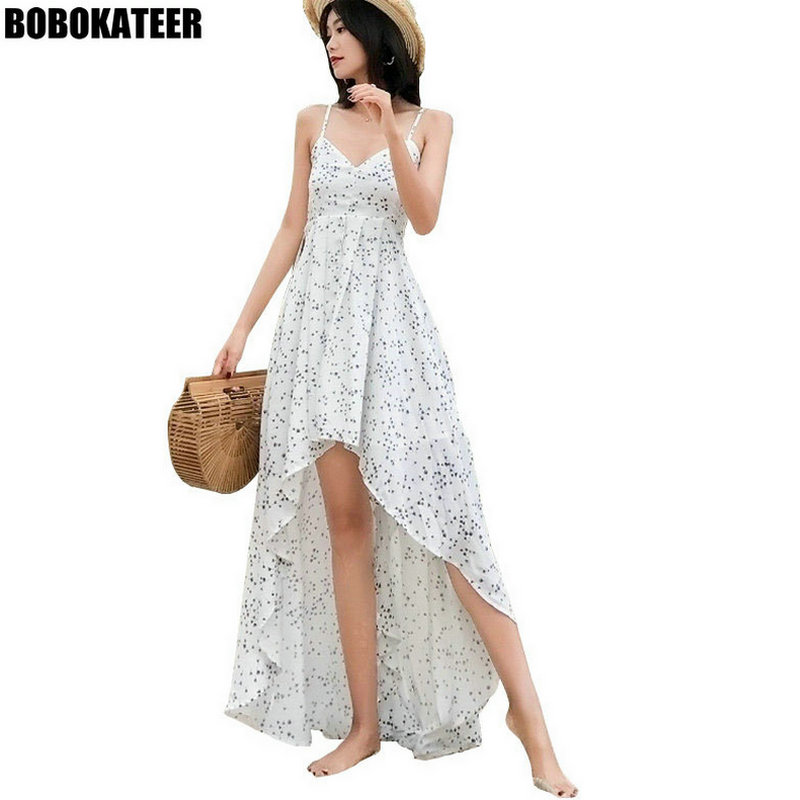BOBOKATEER Boho Backless Sexy Dress Women Off Shoulder Party Ladies Dresses White Floral Summer Beach Maxi Long Women Dress 2019