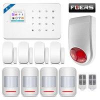 FUERS W18 Беспроводной Главная охранной сигнализации Системы Wi Fi GSM IOS/Android APP дистанционный пульт с lcd GSM, sms, gprs охранной открытый сирена комплект