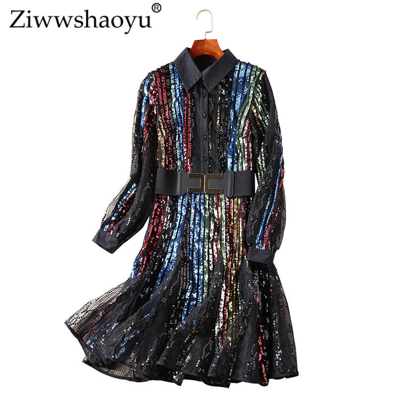 Ziwwshaoyu Sequined Patchwork dress Bohemian Lace Sashes temperament dress  2019 spring and summer new women 3bfa1a64a633