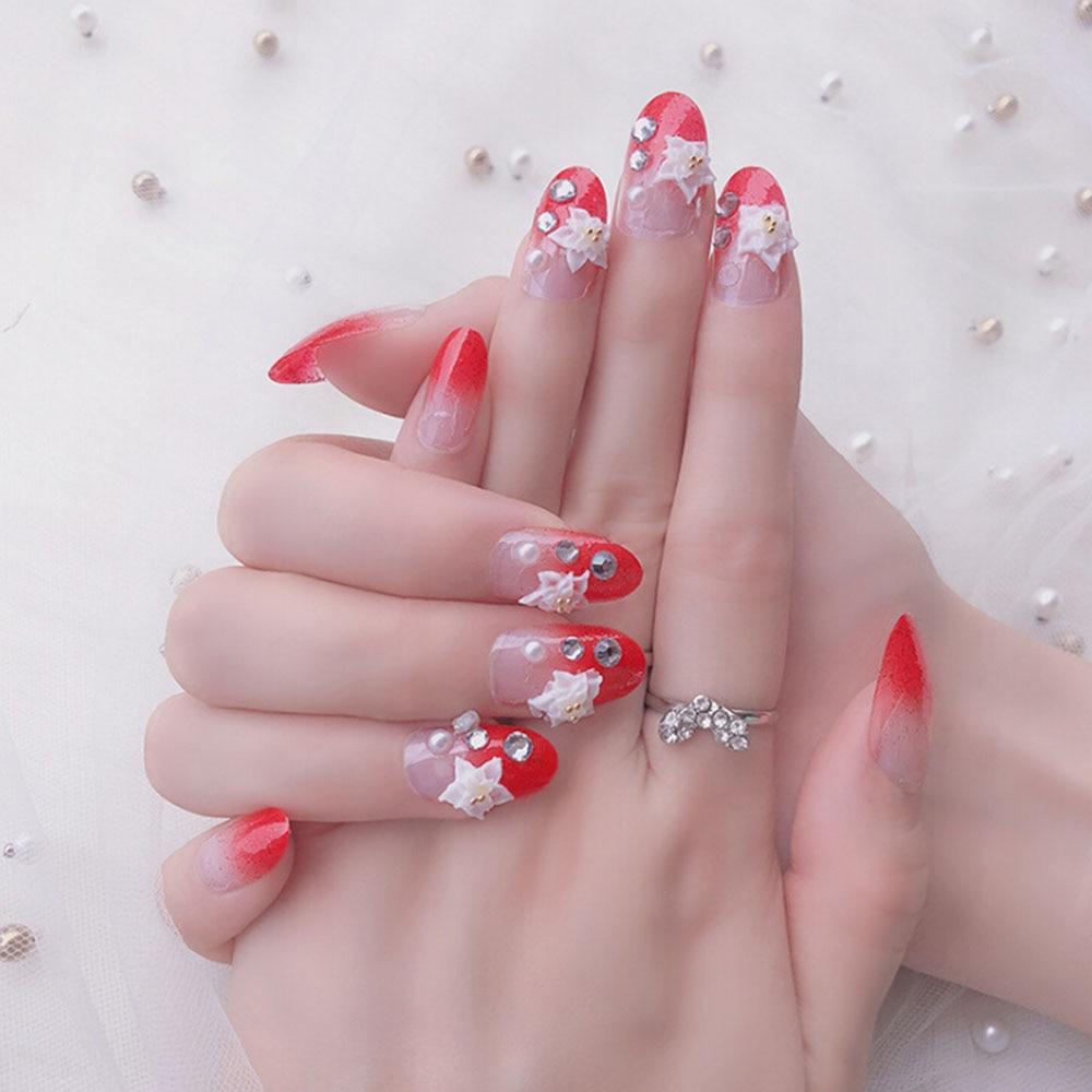 Bridal Nail Art Inspiration: 24pcs/set Stylish Wedding Bridal Nail Jewelry Glitter