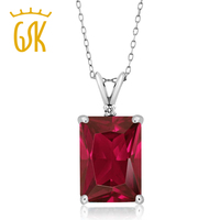 GemStoneKing 8 02 Ct Emerald Cut Red Created Ruby And White Diamond 925 Sterling Silver Pendant