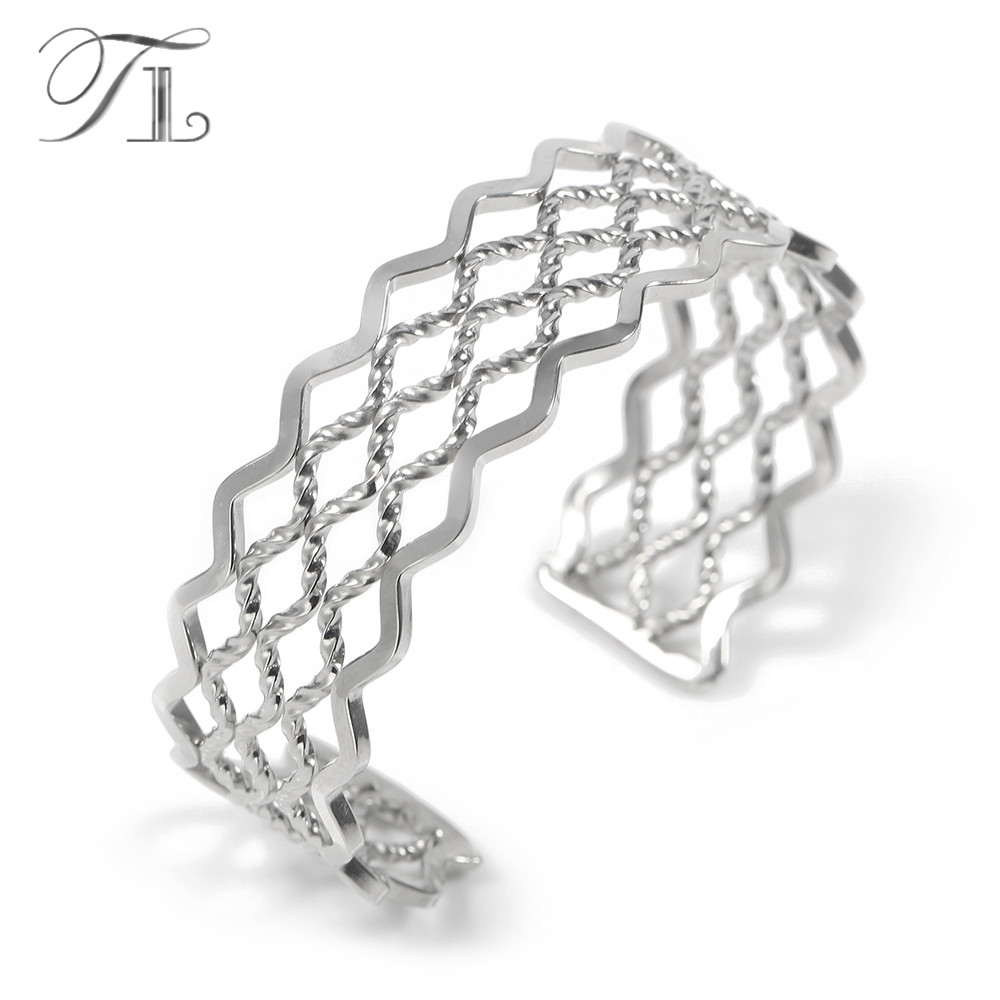 TL Multi-layers Cuff Bangles Inside Three Twist Wire Bangle Outer Sphere Glaze Surface Silver Color Bracelet Wide Bangles Women