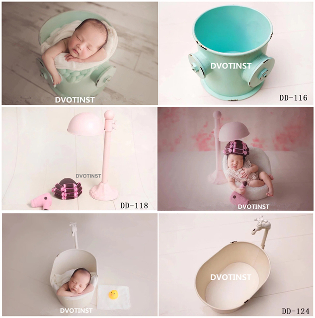 Dvotinst Newborn Photography Props Iron Creative Posing Bucket Bathtub for Baby Photo Shooting Accessories Infant Studio Props