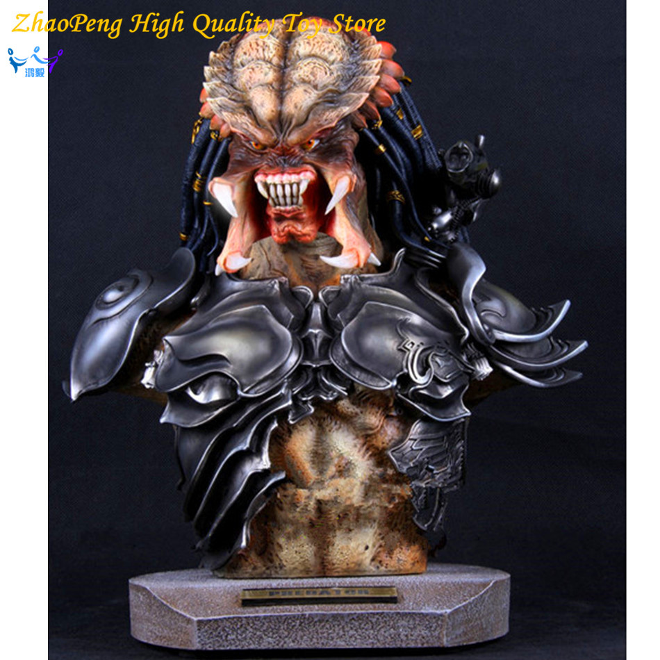 Free Shipping Aliens VS Predator Anime 14 Inches Toy Predator Bust GK Statue Action Figures Collectible Model FB190 neca aliens vs predator 7 inches 21cm lone wolf predator