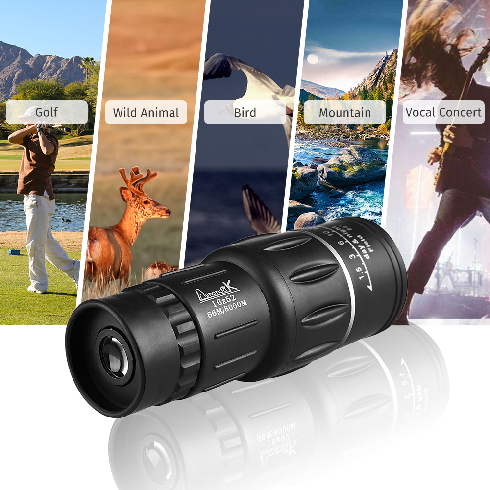 GeerTop Professional Waterproof 16x52 Monocular Hunting Zoom Telescope Focuser Portable Pocket Size Night Vision for Outdoor in Monocular Binoculars from Sports Entertainment