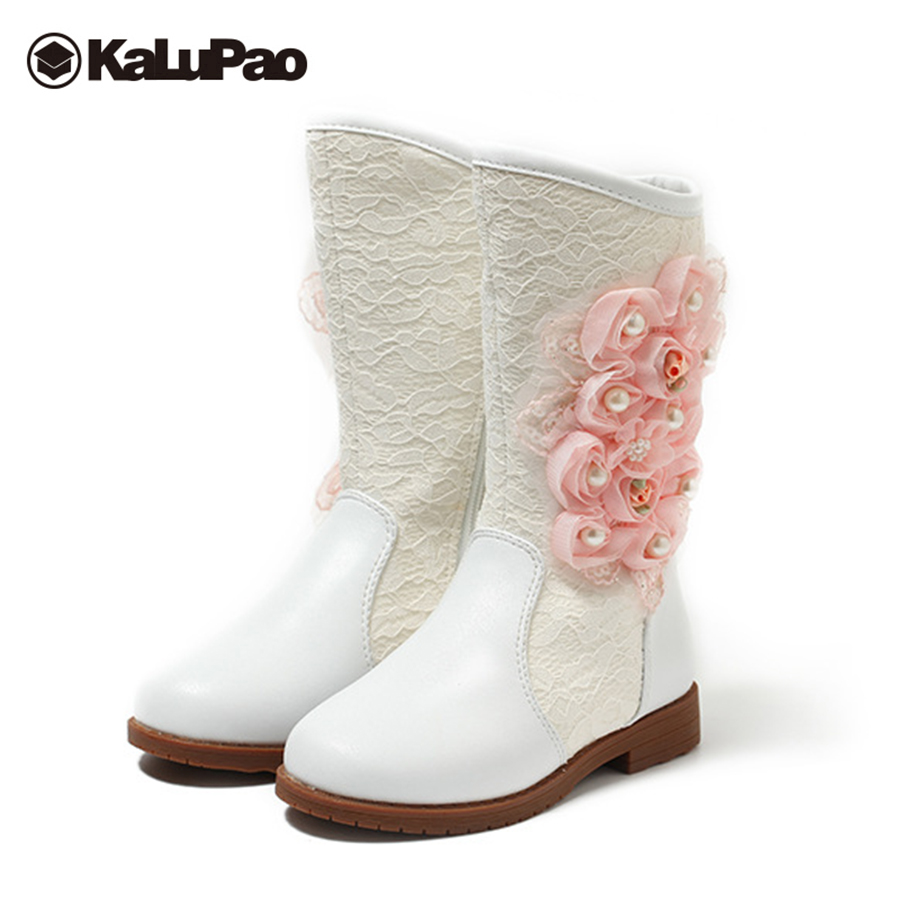 Kalupao girls princess boots flower flat with mid calf white pink snow boots girls keep warm winter boots for girls cow muscle