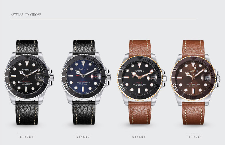 42mm Parnis Automatic Watch Diver 21 Jewel Miyota 8215 Movement Mechanical mens Watches gift with Leather Metal Strap