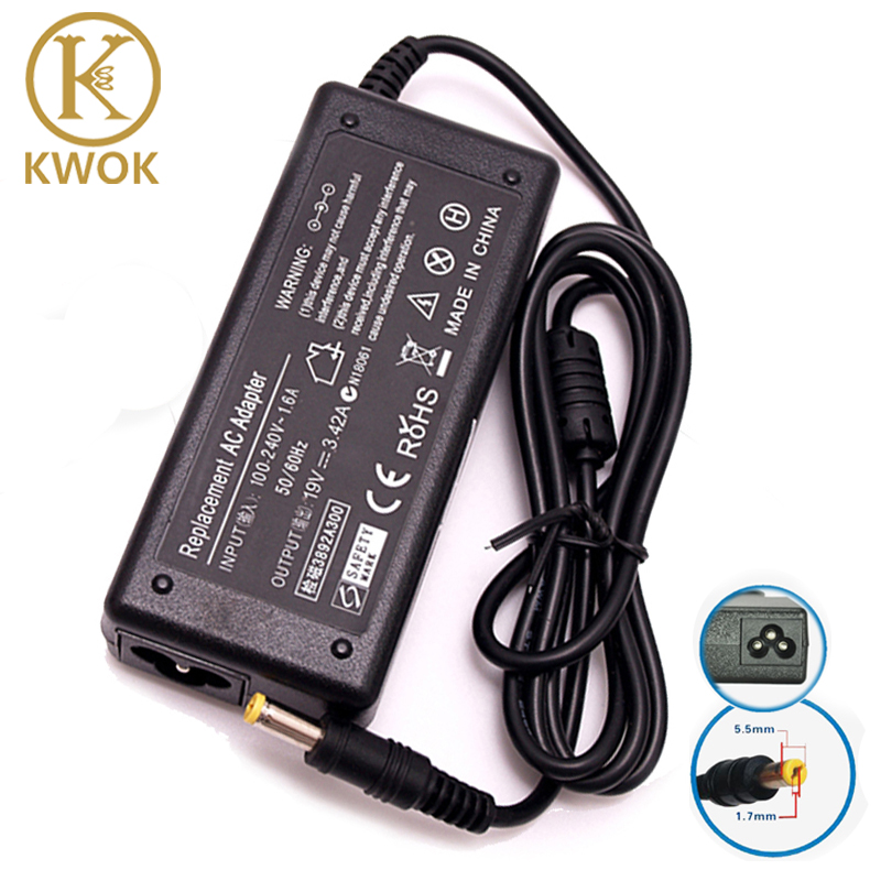 KWEOKKER 19V 3.42A 5.5*1.7mm AC Adapter Laptop Charger For Acer Aspire 19V 3.42A Notebook Power Supply Laptop Adapter Charger genuine 19v 4 74a fsp ac adapter charger for getac v200 9na0904713 fsp090 diebn2 fsp090 d1ebn2 h00000378 90w laptop power supply