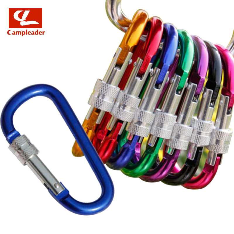5pcs 7# D Type High Quality Thread Lock Outdoor Safety Aluminum Carabiner Outdoor Hanging Keyring Snap Hook Snap Hook CL280