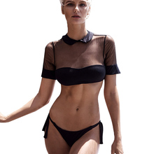 Swimsuit Women Bathing Suit Sexy Push Up Bikini Bikinis 2019 Solid Mesh Womens Swimming Beachwear Swimsuits Woman Padded