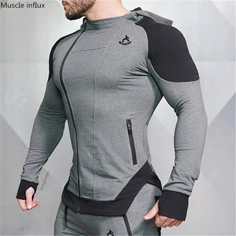 Men's Workout Fitness Hooded Sweatshirt Gyms Brand Tops 2018 Men Casual Hoodies  Men Bodybuilding Sweatshirt Jackets