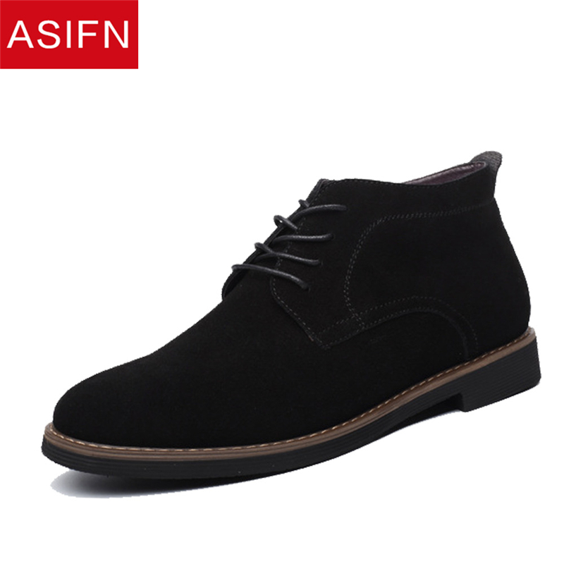 ASIFN Men Casual Winter Boots Solid Casual Leather Shoes Man Big Size Autumn Ankle Male Suede