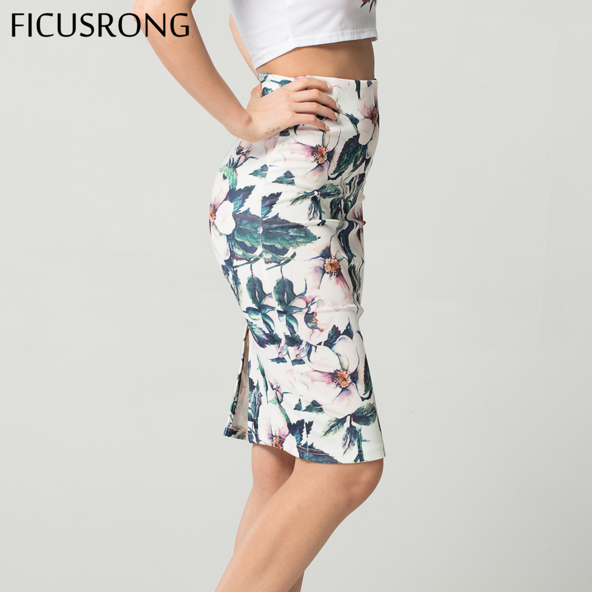 Fashion Spring Summer Style Pencil Skirt Women High Waist Green Skirts Vintage Elegant Bodycon Floral Print Midi Skirt FICUSRONG(China)