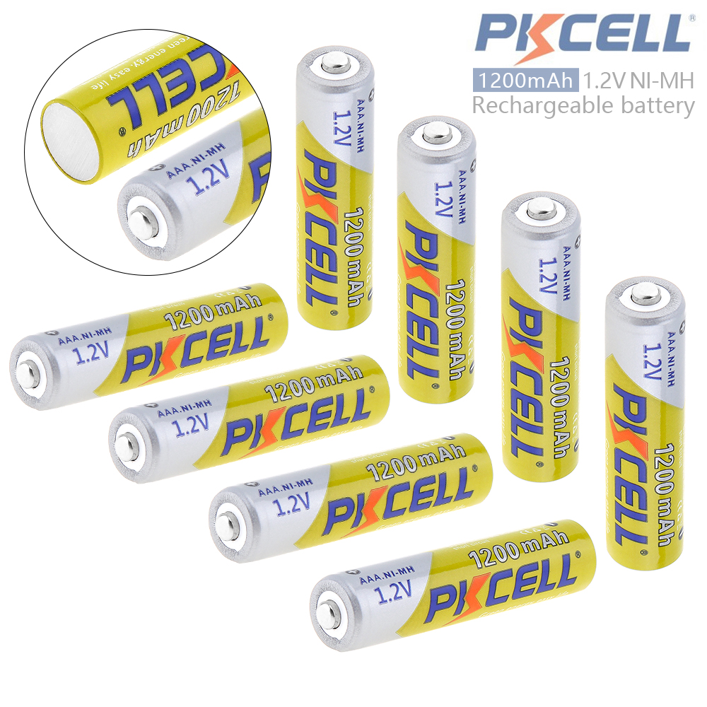 все цены на 8pcs Pkcell 1.2V 1200mAh AAA Battery Ni-Mh NiMh AAA Rechargeable Battery with Safety Relief Valve for Camera Toy Remote Control