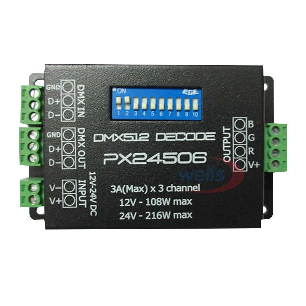 PX24506 DMX 512 Decoder Driver 9A DMX 512 Amplifier 12V 24V led DMX512 controller for RGB LED strip Lights 216w px24506 dmx512 led decoder black 12 24v