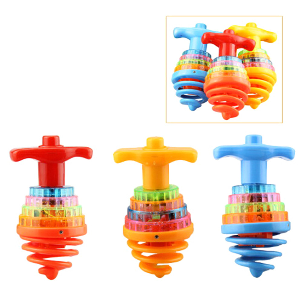 Colourful Light//Music Spring Gyro Peg-Top Spinning Tops Kids Children Toy Gift/_7