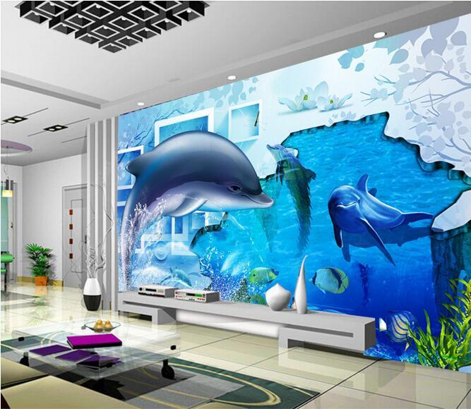 3d Wallpaper Custom Mural Non Woven Wall Sticker 3 D Ocean Dolphin Crushing  Ice Pattern Painting Photo 3d Wall Murals Wallpaper