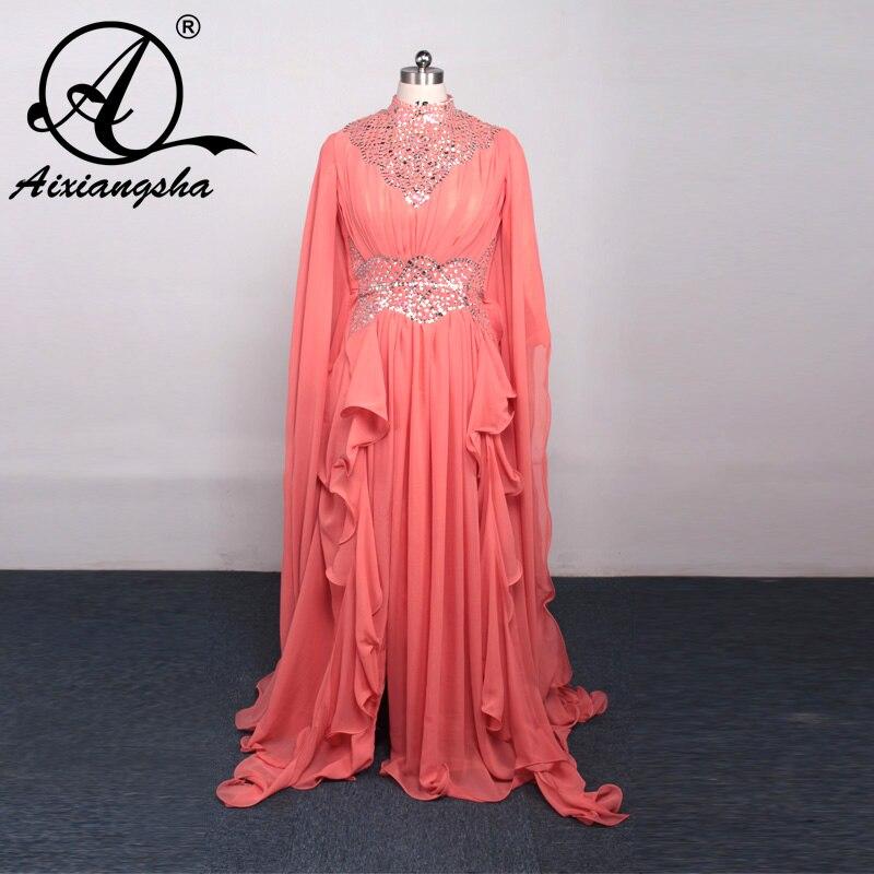 2018 Evening Dresses Arabic Dubai Silver High Neck Long Sleeves