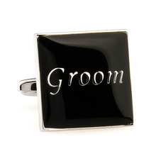 French Shirt  Tie Clip Wedding Groom Men Cuff Links Shape Black Cuff Links Suit Shirt Wedding Party Groom cufflinks for mens