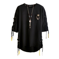 2017 Summer Men T Shirt Brand Fashion Funny T Shirt Men T Shirt Hip Hop Half Sleeve Casual Loose Tassels Tide T shirt Men Clothe