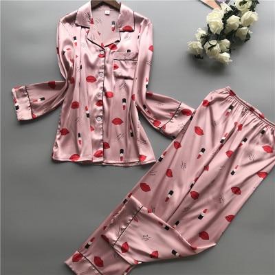Daeyard Women Sleepwear Satin Pijama Mujer Print Women   Pajamas     Sets   Silk Pyjama 2019 Spring Long Sleeve Casual Suit Home Clothes