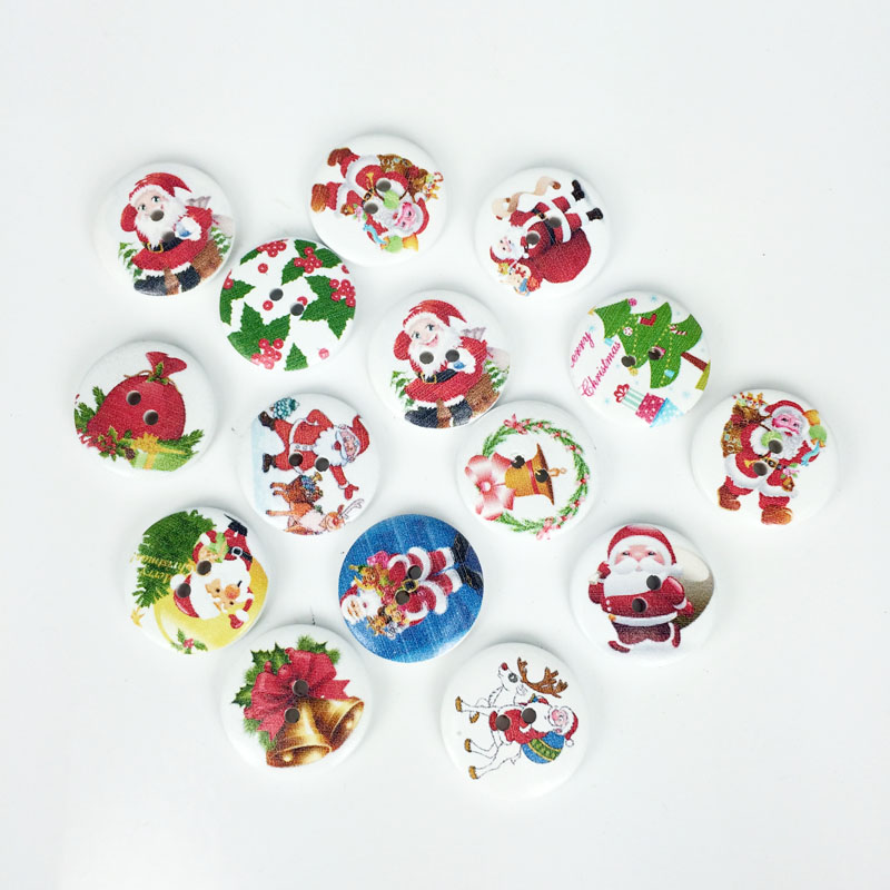 100pcs christmas fashion fancy bulk mixed wood button for Decorative pins for crafts