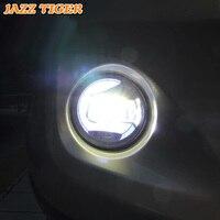 JAZZ TIGER 2 in 1 Functions LED Daytime Running Light Car LED Fog Lamp Projector Light For Honda Fit Jazz 2014 2015 2016 2017