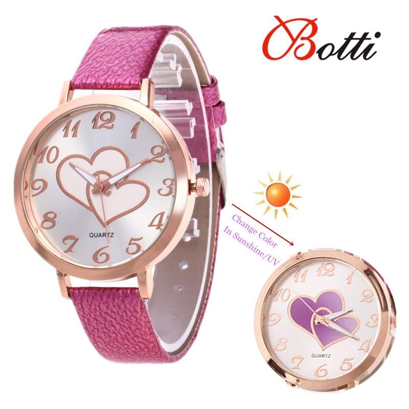 e6adb90020253 New Heart Watches Womens Ladies Fashion Sun UV Change Color Women Quartz  Wristwatch Clock Montre Relogio