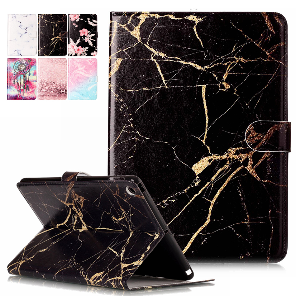 Marble Pattern PU Leather Flip Case For Apple iPad Pro 9.7 2017 A1822 A1823 iPad8 Tablet Protector Cover With Card Slot B08 new crazy horse pattern soft pu leather case cover for apple ipad pro 10 5 2017 fashion solid magnetic with card slots