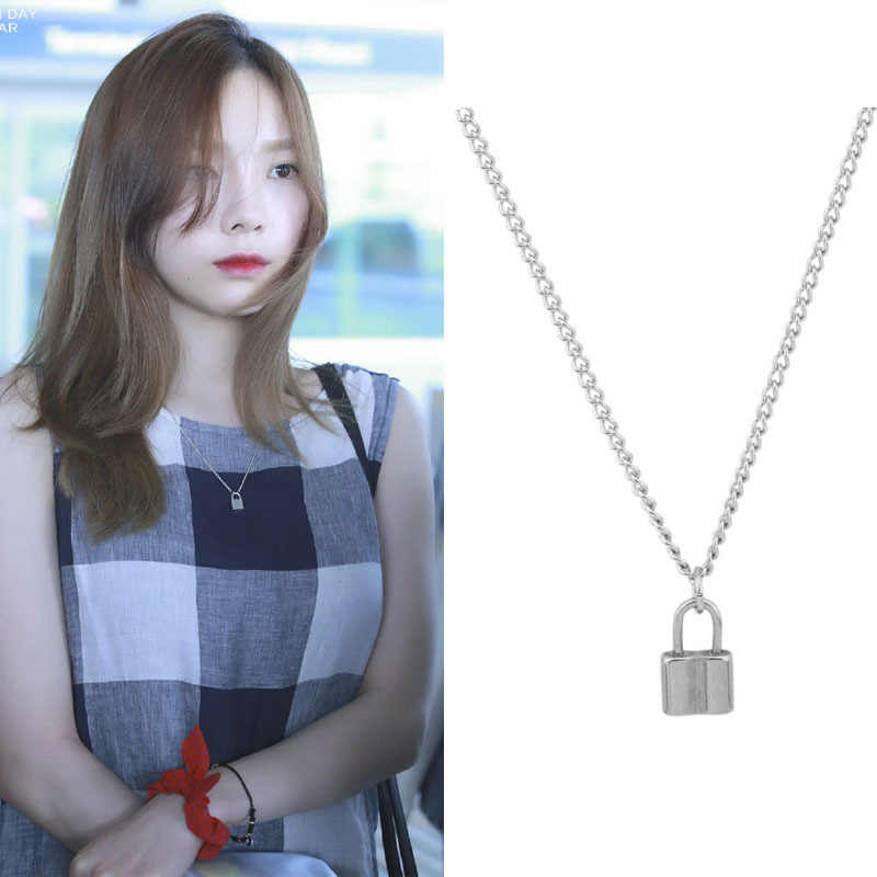 2019 Stainless Steel Silver PadLock Pendant Necklace Brand Rolo Cable Chain lock Necklace collar ras du cou collier femme women