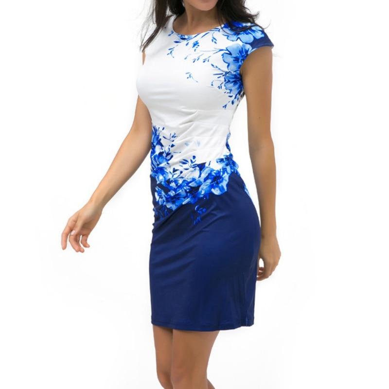 Lossky 2019 Summer Plus Size Women Dress Casual Sleeveless ONeck Print Slim Office Dress Sexy Mini Bodycon Party Dresses Vestido 1
