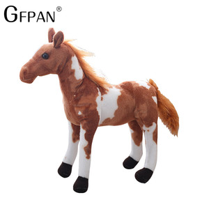 Image 1 - 1pc 60 30cm Simulation Horse 5 Styles  Stuffed Animal Plush Dolls High Quality Classic Toys For Children Gift