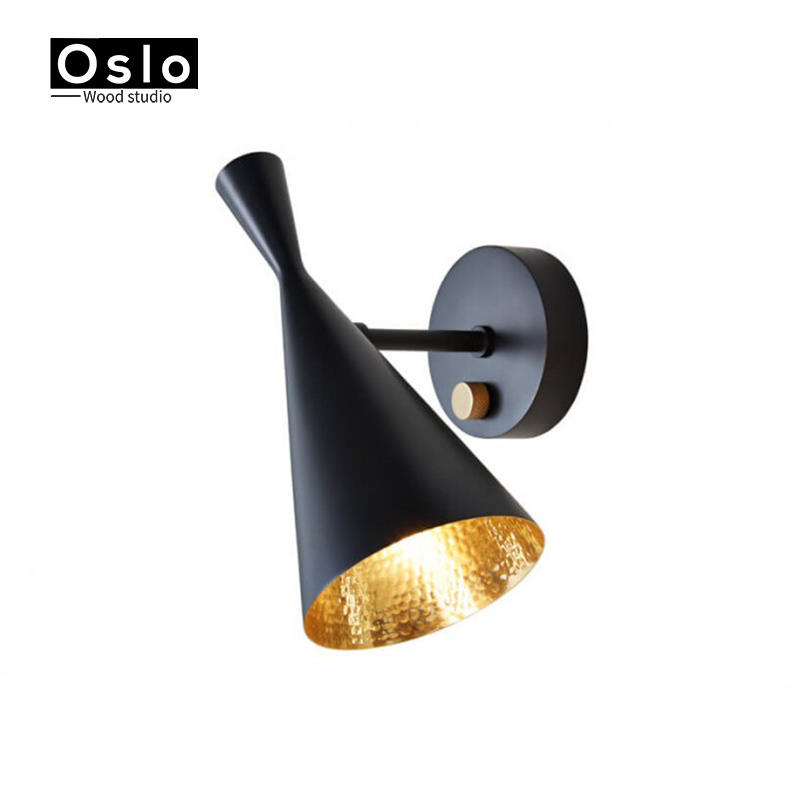 Olso Wood Scandinavian Design Tom Dixon Loft Wall Lamps Modern Bedside Light Metal Lampshade E27 Edison Bulbs