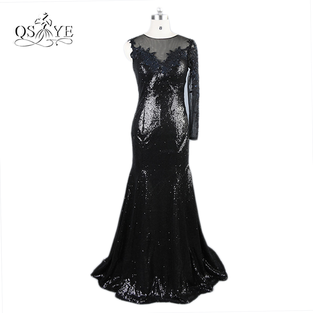 Sparkly Sequins Sexy Black Mermaid Evening Dresses 2017 Real Photos Lace Beading Formal Party Occasion Evening Gowns Custom Made