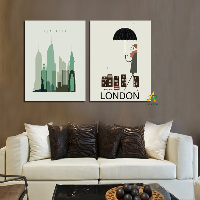 Creative 2 panels canvas paintings of London Building Urban Skyscraper poster printer of sofa background wall decals