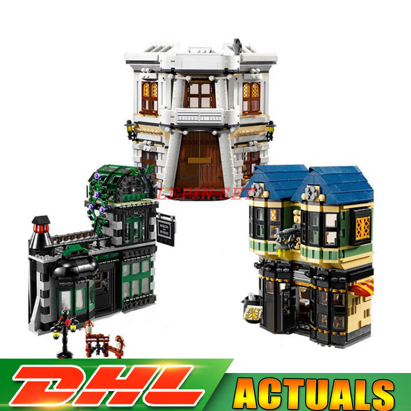 Fit for 10217 DHL LEPIN 16012 2025pcs Movie Series The Diagon Alley Set 10217 Building Blocks Bricks Educational Toys dhl lepin 07060 1969pcs classic movie series building blocks bricks for education toys 7111