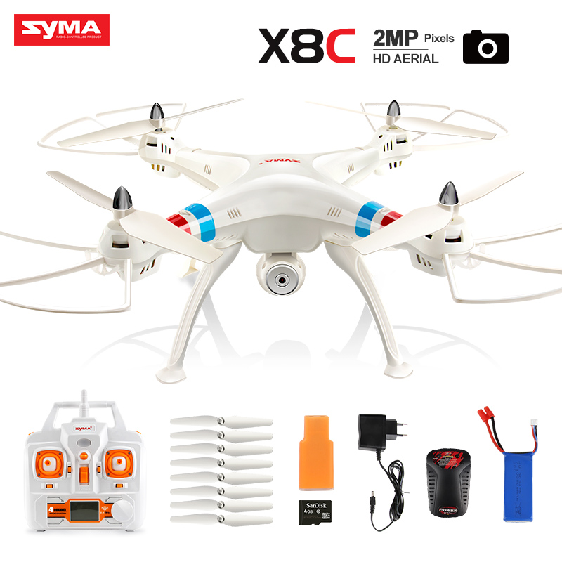 niosung modern high quality 2 4g 4ch 6 axis rc quadcopter drone with 2mp hd camera rtf 2pc battery Original Syma X8C 2.4G 4CH 6 Axis with 2MP Wide Angle HD Camera RC Quadcopter RTF RC Helicopter Drone shatter resistant toys