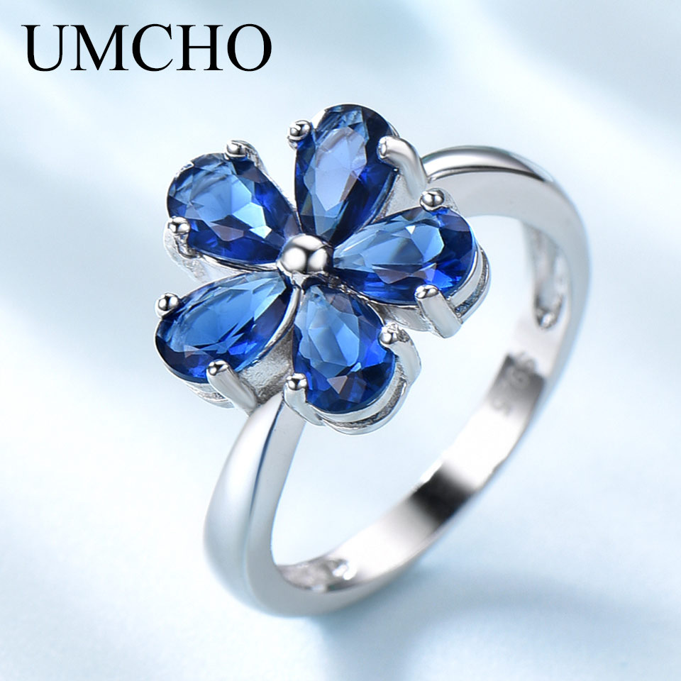UMCHO Gemstone Blue Sapphire Rings For Women Genuine 925 Sterling Silver Flower Party Wedding Engagement Fine Jewelry Party Gift
