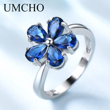 цена UMCHO Gemstone Blue Sapphire Rings for Women Genuine 925 Sterling Silver Flower Party Wedding Engagement Fine Jewelry Party Gift онлайн в 2017 году