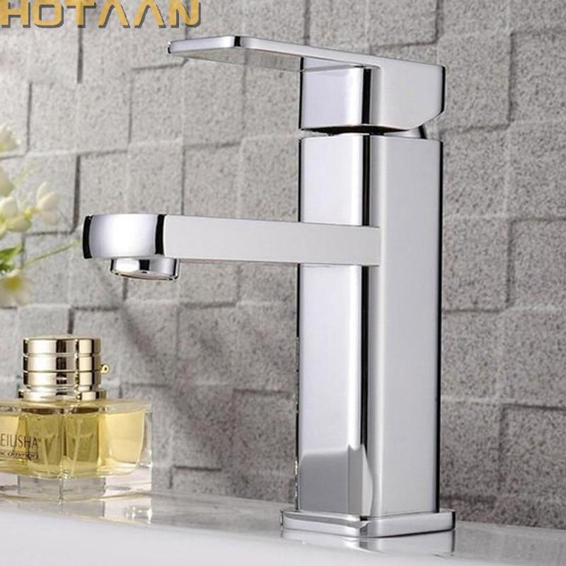 Hotaan Modern Style Free Shipping Basin Faucet Cold and Hot Water Mixer Torneira Da Bacia Single Handle Bathroom Tap(China)